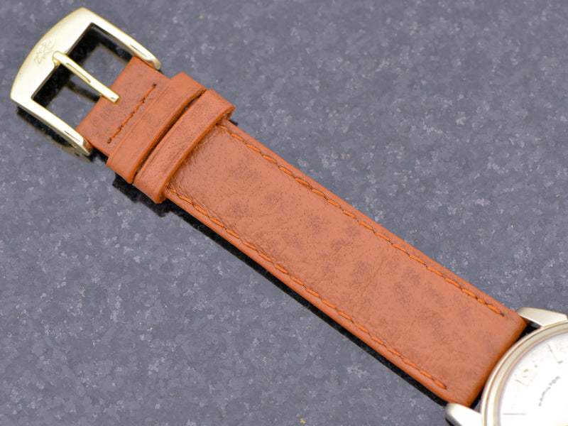 New Genuine Leather Brown Buffalo Grain Band with gold colored buckle