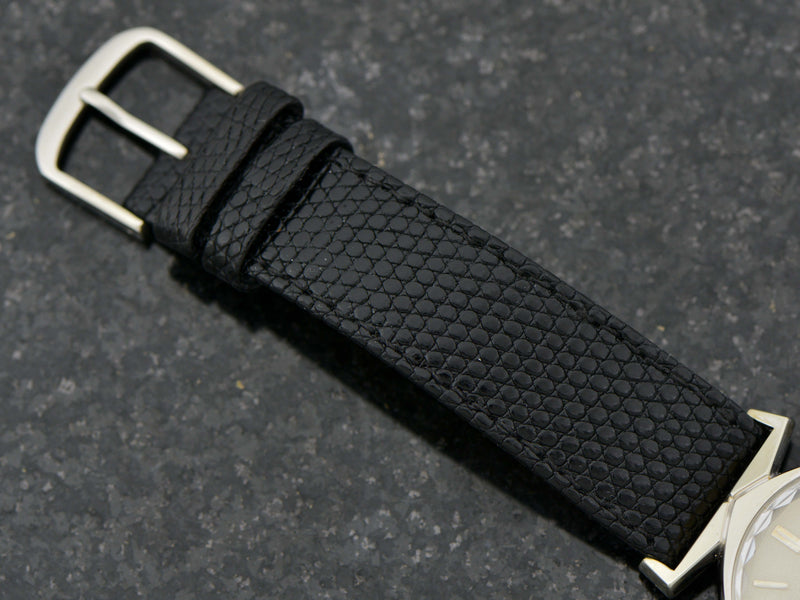 Genuine Leather Lizard Grain Black Band with matching Silver Colored Buckle