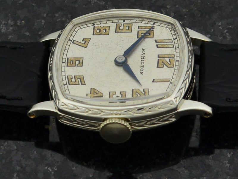 Hamilton Cushion White Gold Filled Watch