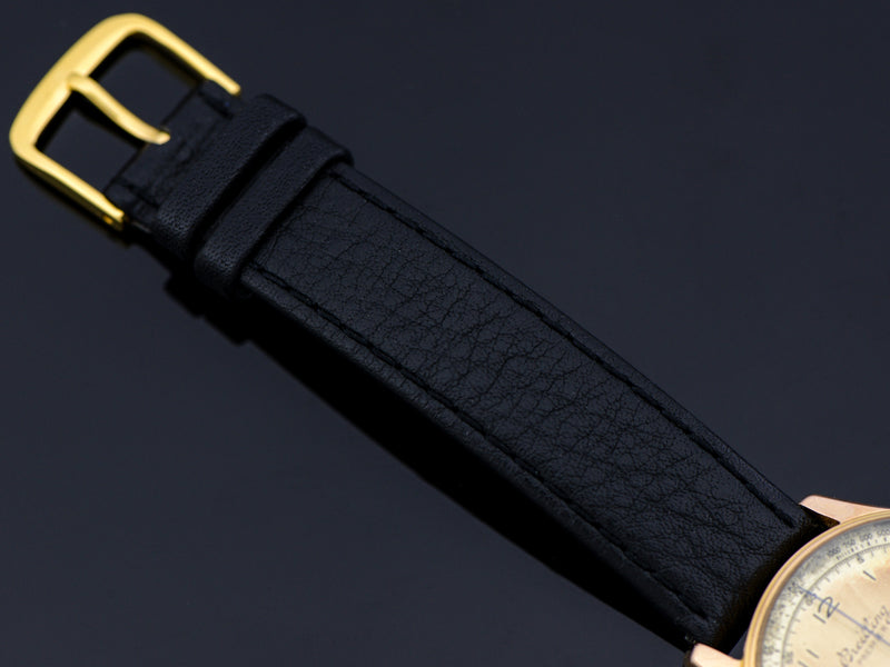 Genuine Leather Black Watch Band with gold tone buckle