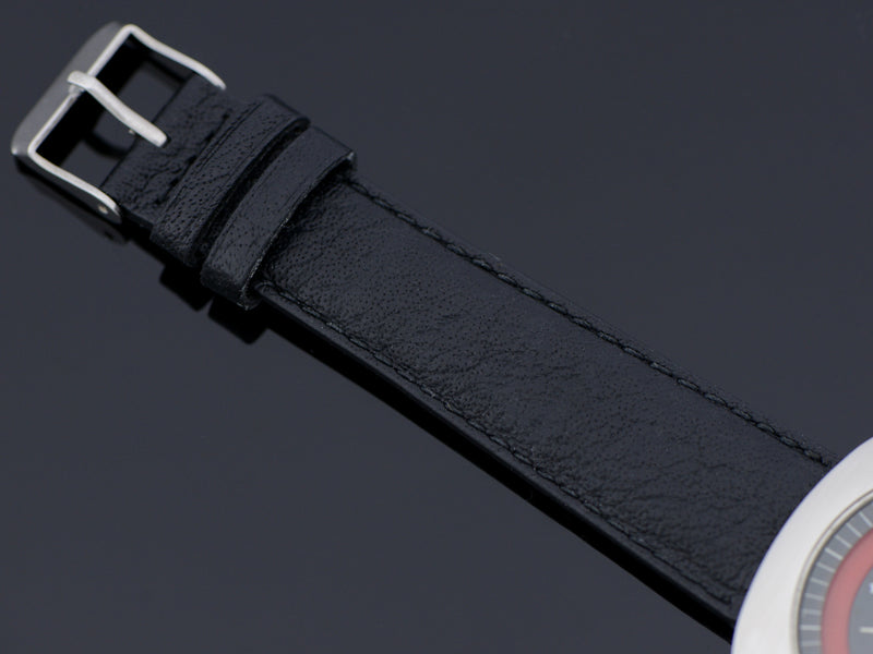 Genuine Leather Black Buffalo Grain Watch Band with Steel Buckle