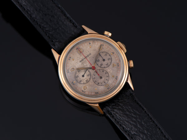 Movado M95 Chronograph Watch Steel and 18K Gold Cap