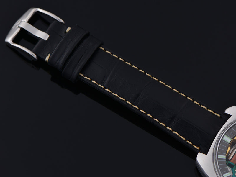 New Genuine Leather Black Alligator Grain Watch Strap with steel buckle