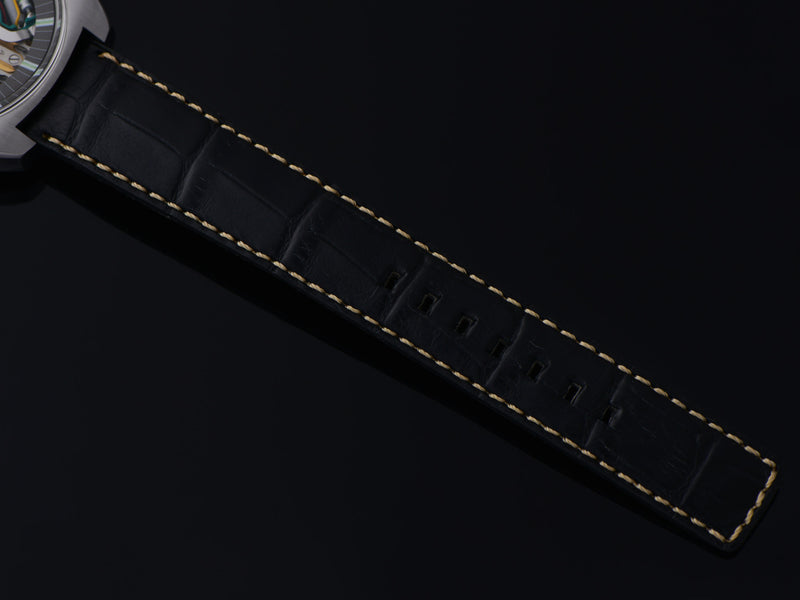 New Genuine Leather Black Alligator Grain Watch Strap