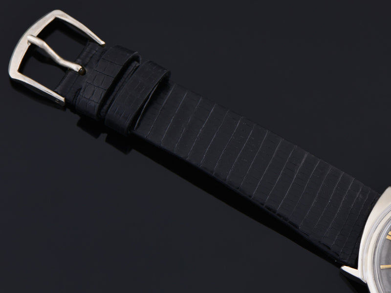 New Genuine Leather Black Alligator Grain watch strap with matching silver tone buckle