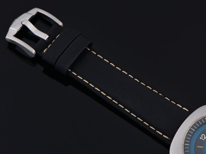 New Genuine Leather Black Buffalo Grain Watch Band with Silver Tone Buckle