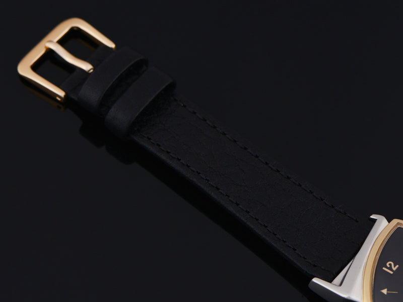New Genuine Leather Black Watch Strap With Gold Tone Buckle
