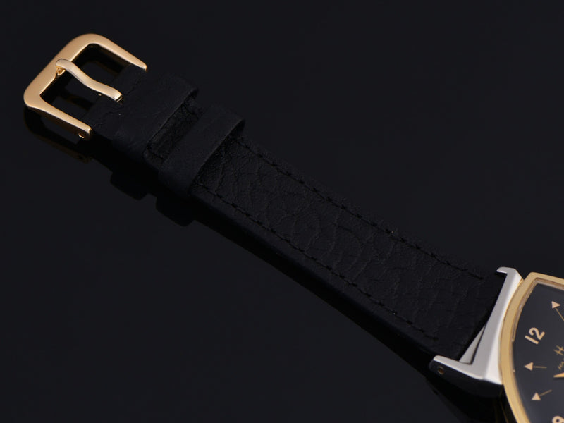 New Genuine Leather Black Calf Grain Watch Strap With Gold Tone Buckle