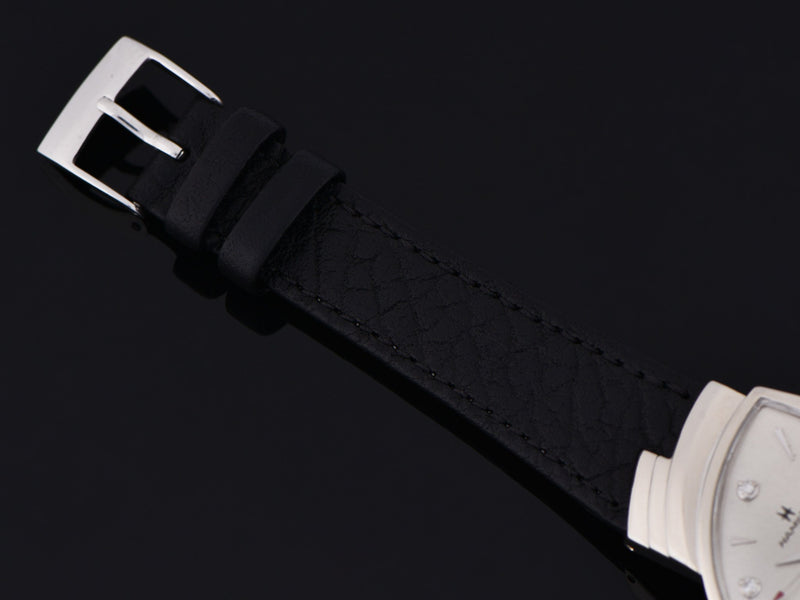 New Genuine Leather Black Calf Grain Watch Strap with matching Stainless Steel Buckle