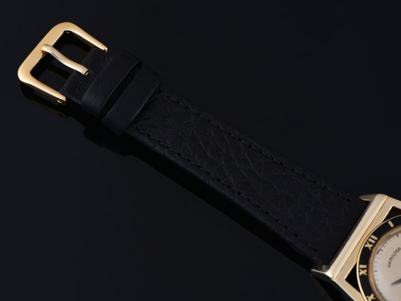 New Genuine Leather Black Calf Grain Watch Strap with Matching Gold Tone Buckle