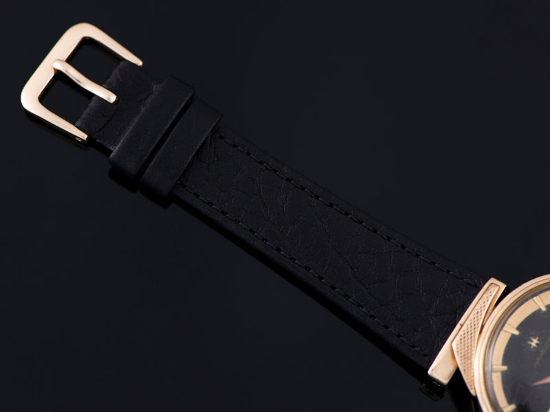 New Genuine Leather Black Crocodile Grain Strap with matching Gold Tone Buckle