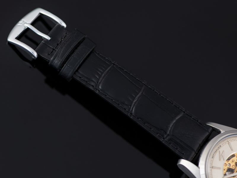 New Genuine Leather Black Crocodile Grain Watch Strap with matching Silver Tone Buckle