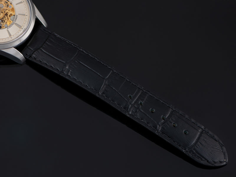 New Genuine Leather Black Crocodile Grain Watch Strap