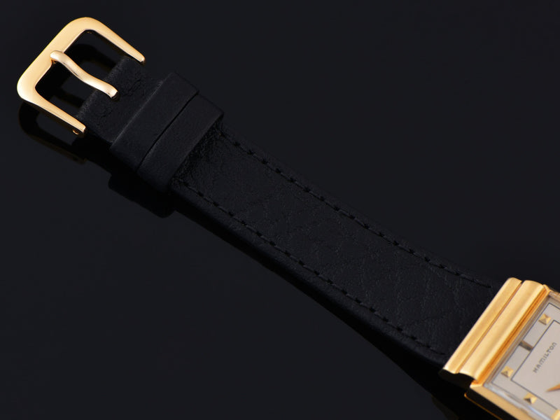 New Genuine Leather Black Strap with Gold Tone Buckle