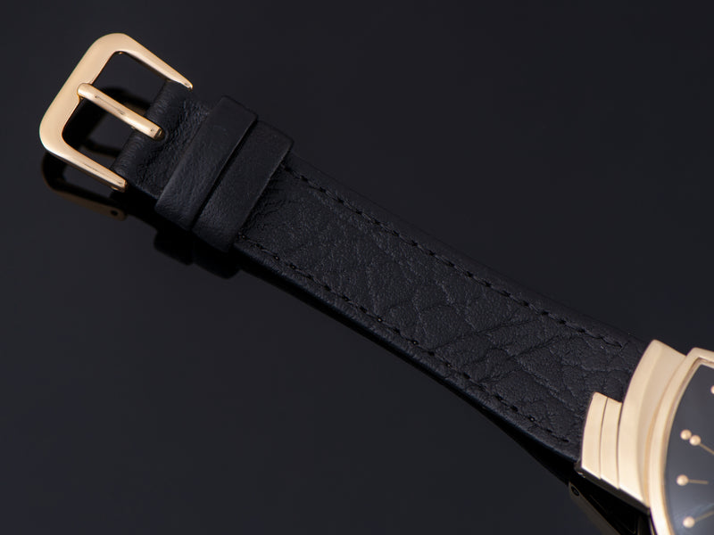 New Genuine Leather Black Watch Strap with matching gold tone buckle