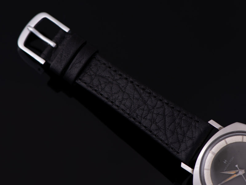 Brand New Genuine Leather Black Watch Strap with matching silver tone buckle