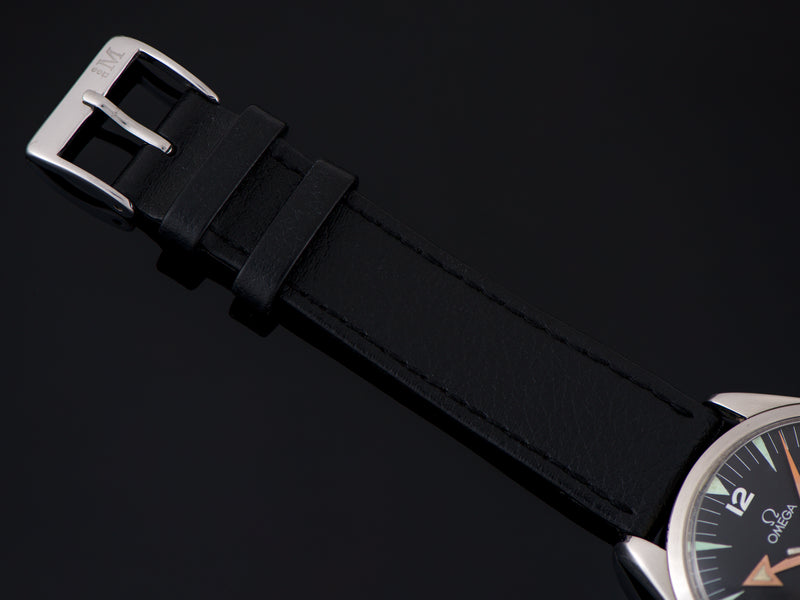 Genuine Leather Black Watch Strap with matching silver tone buckle