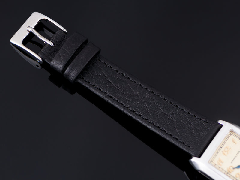 New Genuine Leather Black Watch Strap with matching silver tone buckle