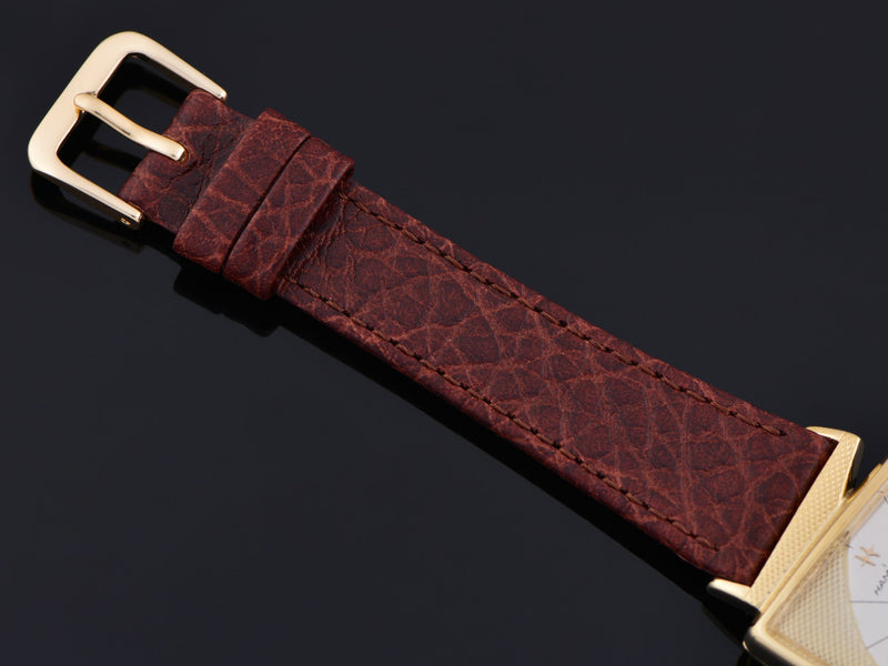 New Genuine Leather Brown Calf Watch Band with Matching Gold Tone Buckle