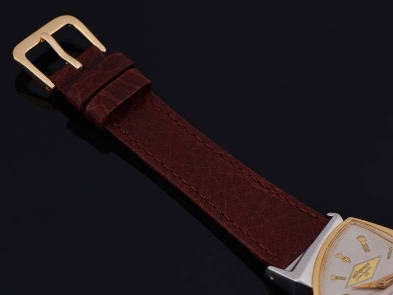 New Genuine Leather Brown Calf Grain Strap With Gold Tone Buckle