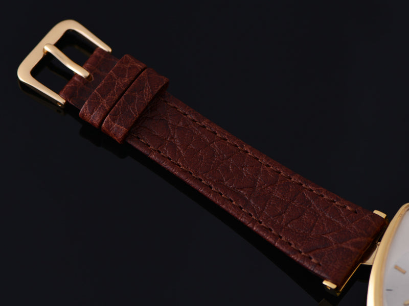 New Genuine Leather Brown Calf Grain strap with matching Gold Tone Buckle