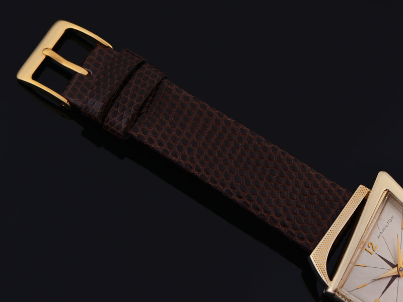 New Genuine Lizard Brown Watch Strap with matching Gold Tone Buckle