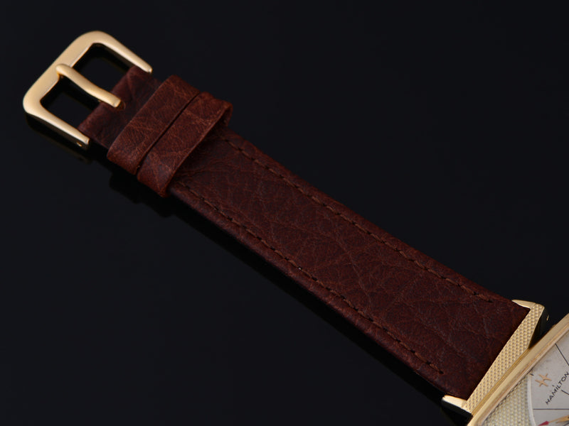 New Genuine Leather Brown Calf Watch Strap with Matching Gold Tone Buckle