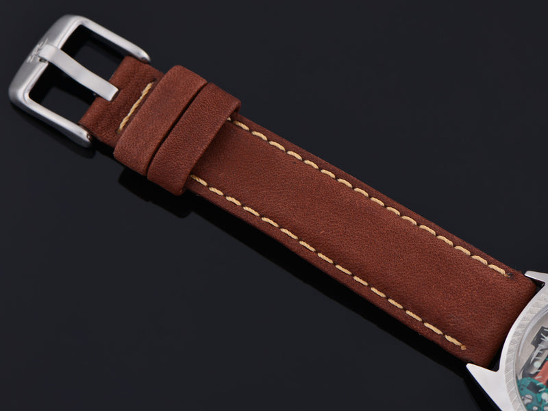 New Genuine Leather Brown Calf Watch Strap with matching silver tone buckle