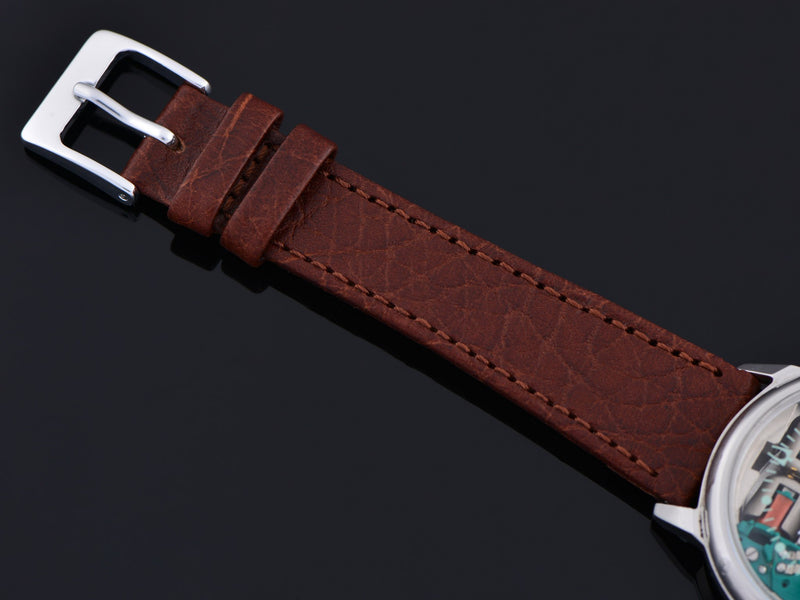 New Genuine Leather Brown Calf Watch Strap with matching steel buckle