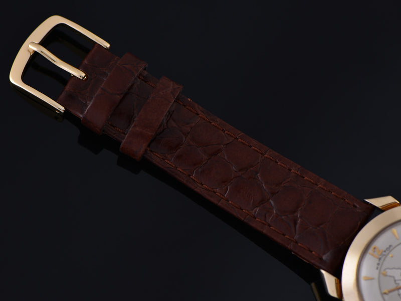 Brand New Genuine Leather Brown Crocodile Grain Watch Strap with matching Gold Colored Buckle