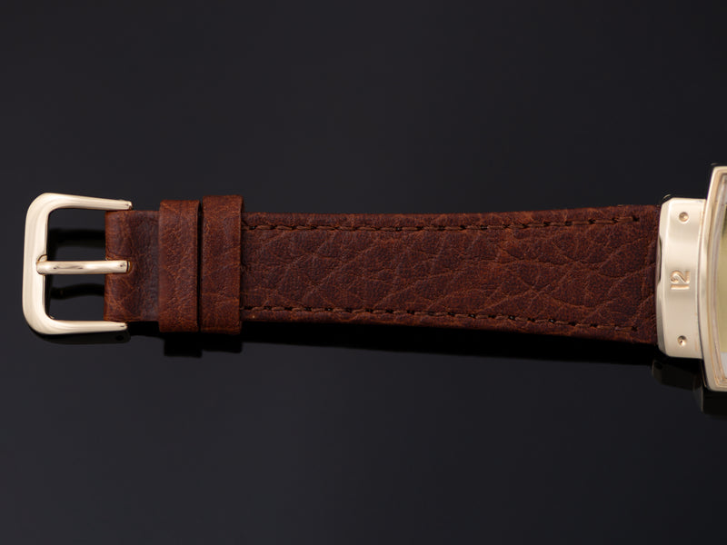 New Genuine Leather Brown Watch Strap with matching gold tone buckle