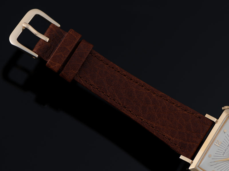 New Genuine Leather Brown Strap with matching Gold Tone Buckle
