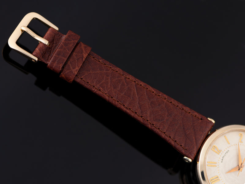Brand New Genuine Leather Brown Watch Strap with matching Gold Tone Buckle