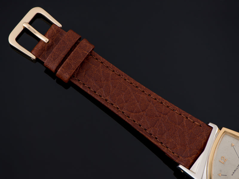 New Genuine Leather Brown Watch Strap with matching silver tone buckle