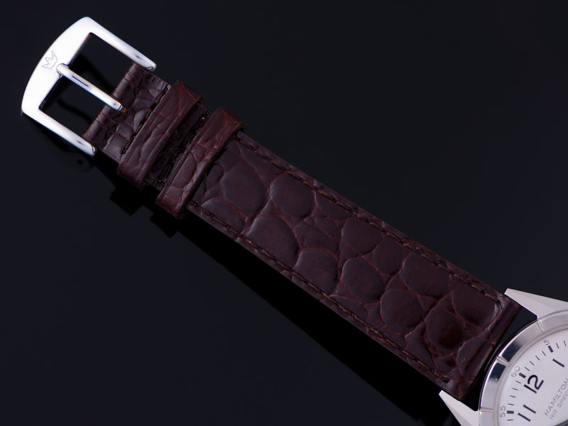 New Genuine Leather Brown Crocodile Grain Watch Strap with matching Silver Tone Buckle