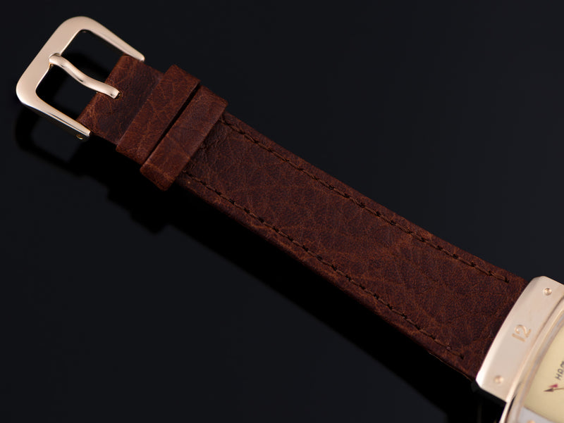 New Genuine Leather Buffalo Grain Brown Watch Strap with matching Gold Colored Buckle