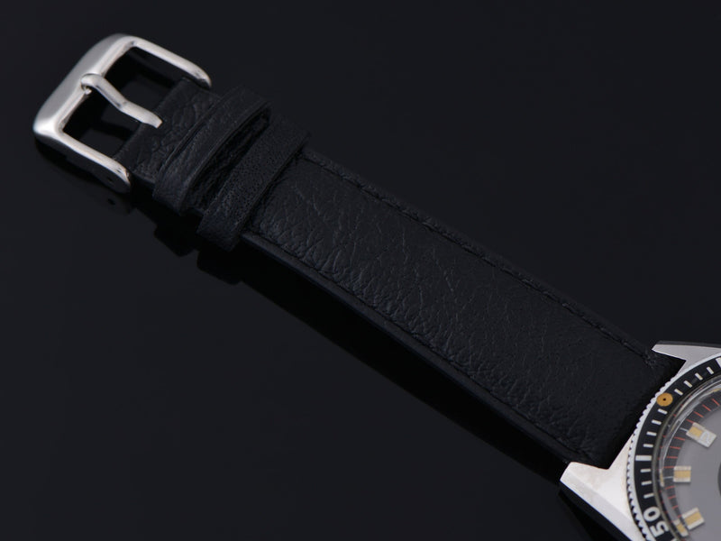 New Genuine Leather Buffalo Grain Watch Strap with matching Silver Tone Buckle