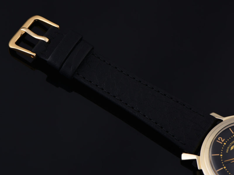 New Genuine Leather Calf Grain Black Watch Band with Matching Gold Tone Buckle