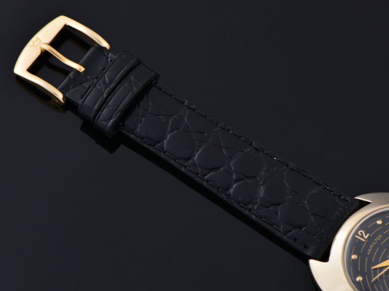New Genuine Leather Crocodile Grain Black Watch Strap with matching Gold Tone Buckle