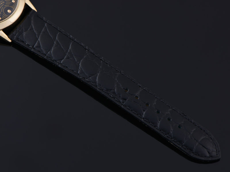 New Genuine Leather Crocodile Grain Black Watch Strap