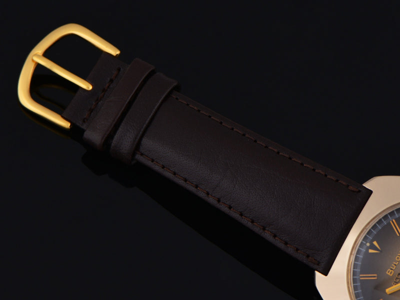 New Genuine Leather DeBeer Brown Watch Strap with Gold Tone Buckle