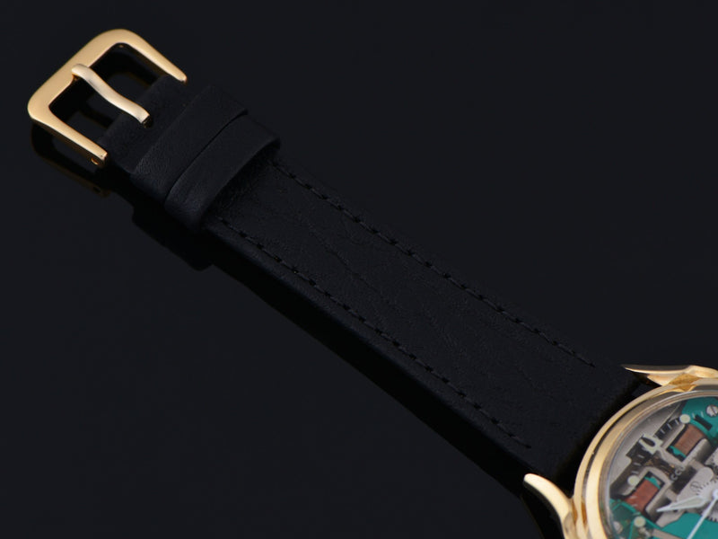 New Genuine Lizard Black Watch Band with matching gold tone buckle