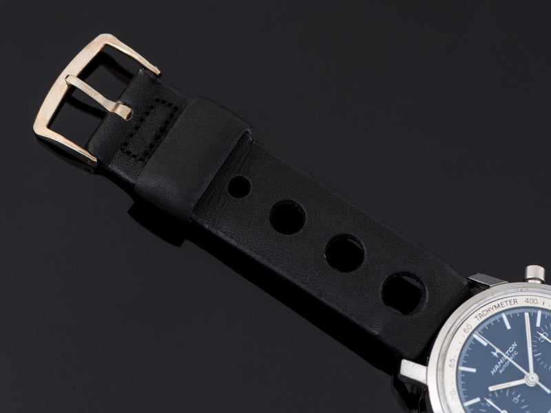 New Old Stock Genuine Leather Black Rally Strap Signed Hamilton with Stainless Steel Buckle