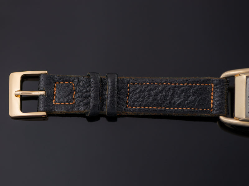 New Old Stock Genuine Leather Black Strap with matching Gold Tone Buckle