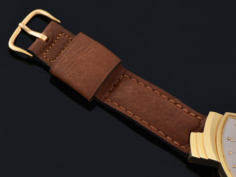 New Old Stock Genuine Leather Brown Hamilton Marked Watch Strap with 14K Solid Gold Hamilton Marked Buckle