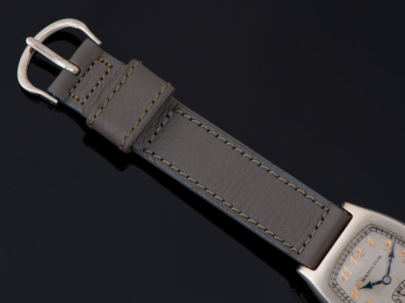 New Old Stock Period Correct Gray Calf Skin Watch Strap With Matching Silver Tone Buckle