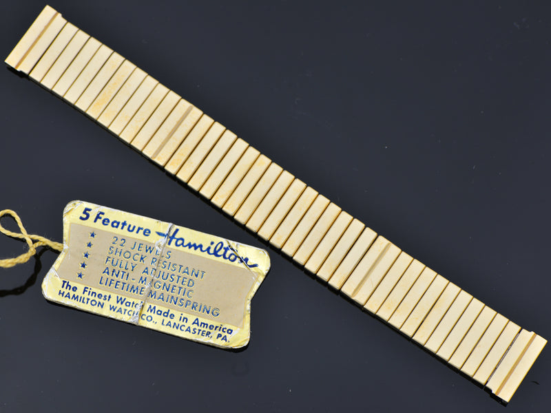 New Old Stock Hamilton Yellow Gold Filled Thor Original Watch Bracelet and Original Sales Tag | Vintage