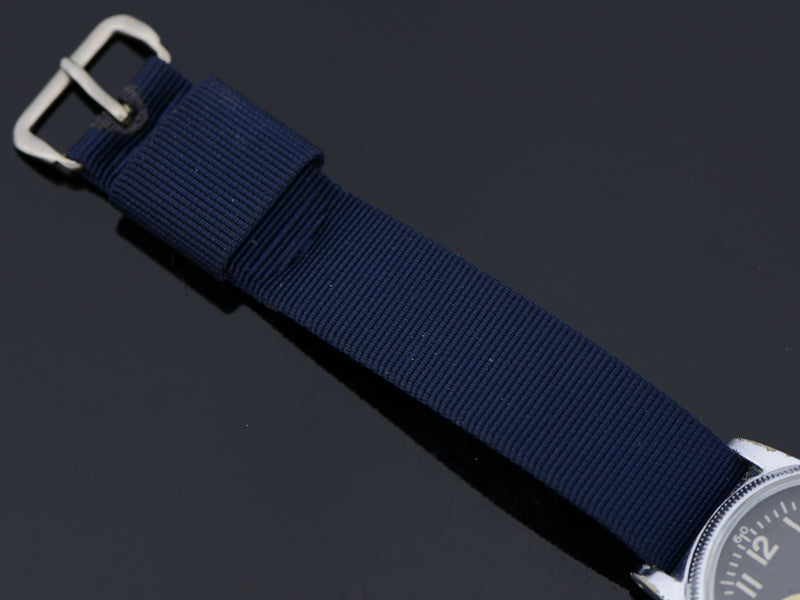Vintage Dark Blue Nylon Strap, with matching Silver Tone Buckle
