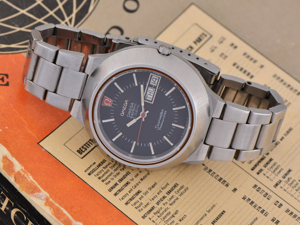 "Omega Steel Constellation Chronometer f300 ""Cone"" Tuning Fork Watch & Original Bracelet"