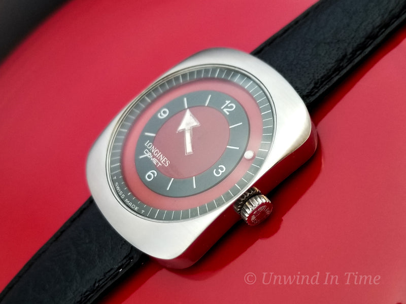 "Longines Comet ""Mystery Dial"" Watch Maroon Dial Vintage Watch"